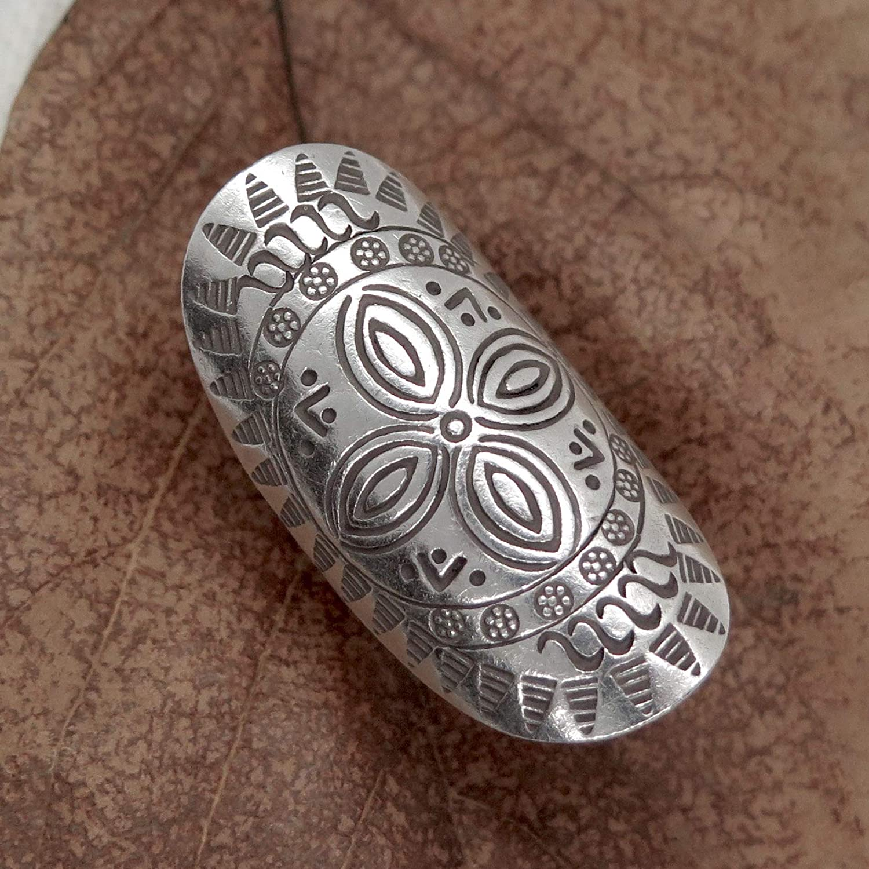 Gift For Her Handmade Adjustable Large Ethnic Gypsy Jewllery Sterling Silver Long Boho Statement Ring With Symbolic Flower Mandala Rings Kolenik Statement