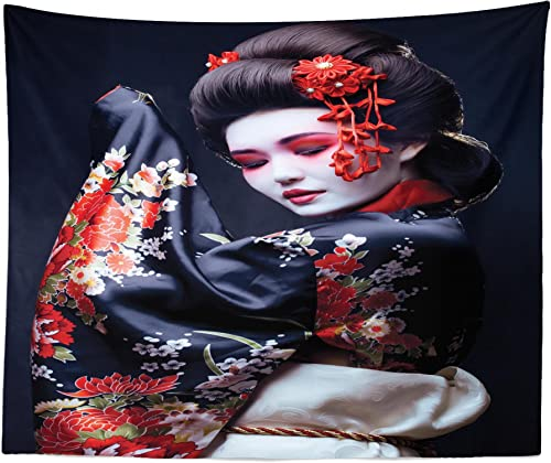 Lunarable Japan Tapestry King Size, Young Geisha in Kimono with Sakura Traditional Oriental Costume Makeup, Wall Hanging Bedspread Bed Cover Wall Decor, 104 X 88 , Black Cream