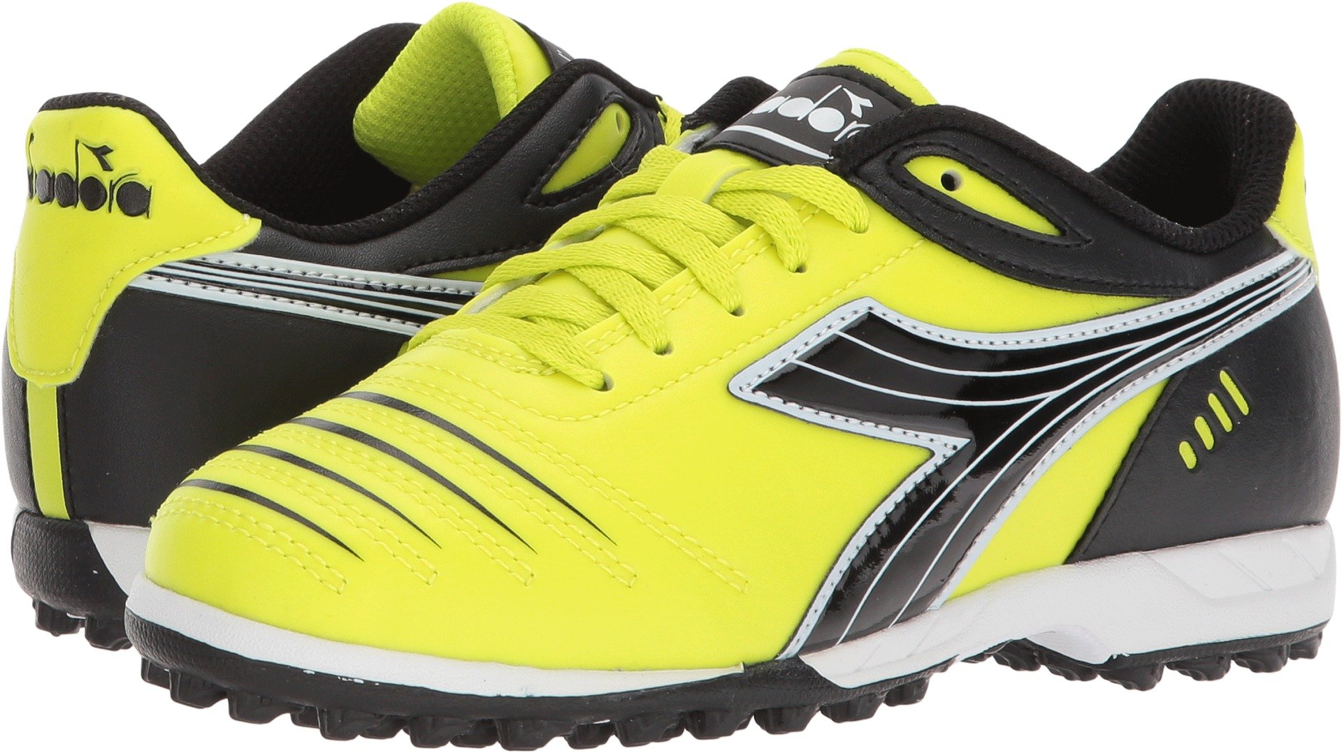 Diadora Kids Unisex Cattura TF Jr Soccer (Little Kid/Big Kid) Yellow Fluo/DD Black 4 Big Kid M