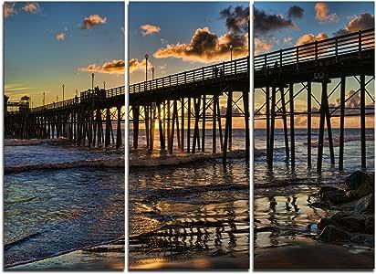 Island Blue Sunset Seascape SINGLE CANVAS WALL ART Picture Print