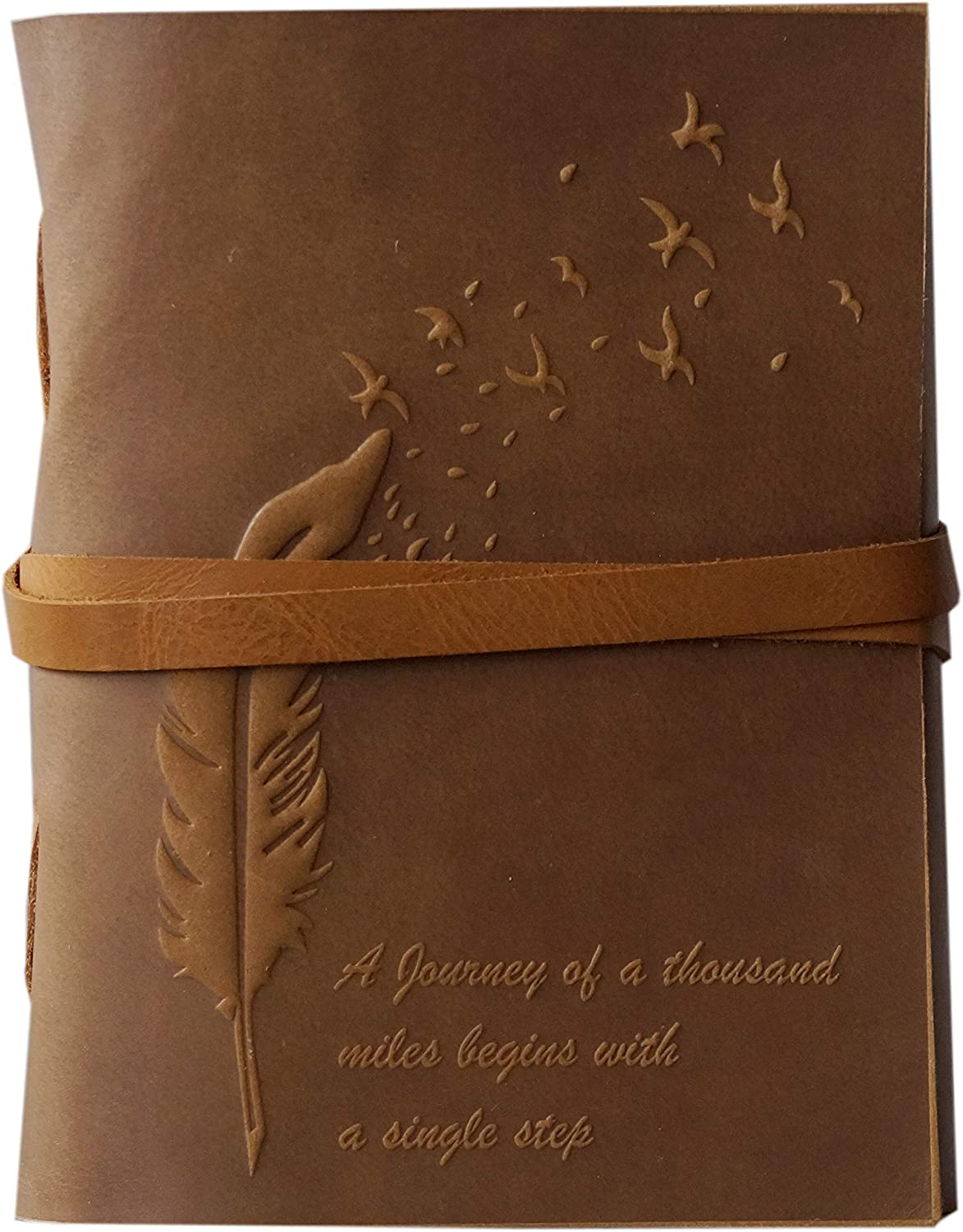 Soft Leather Journal Bound Handmade Feather Emerging Embossed Design Writing Diary Office Notebook Handbook Sketchbook 5 x 7 inches for Unisex