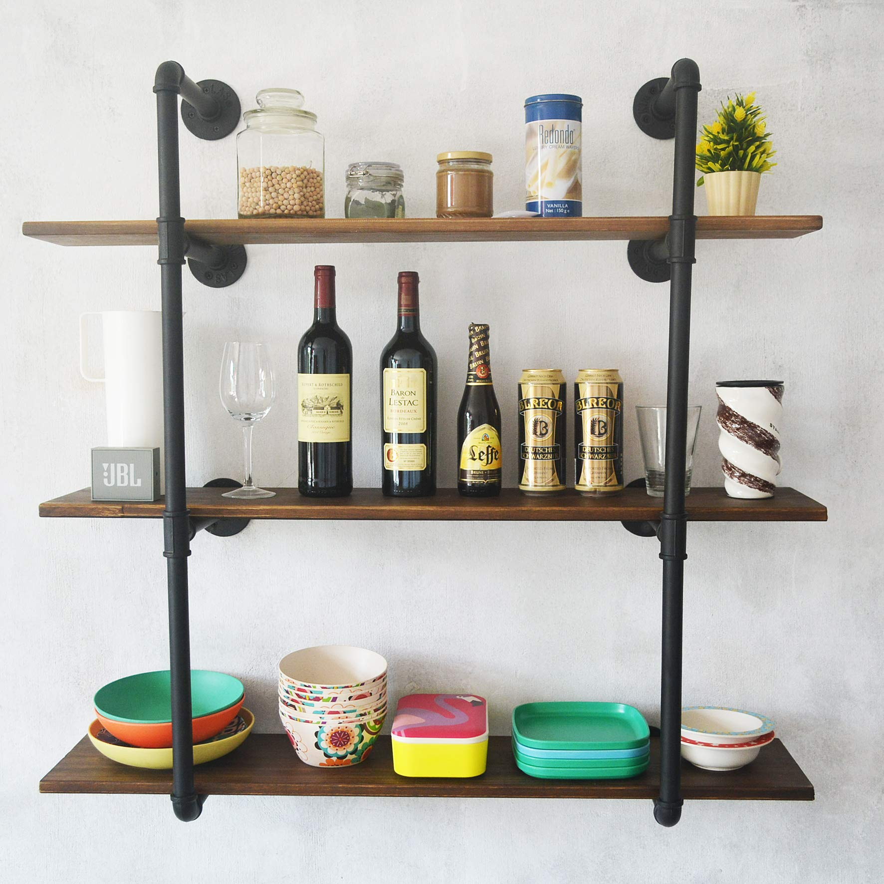 Puncia 48in Pipe Solid Wood Heavy Duty Kitchen Book Wall