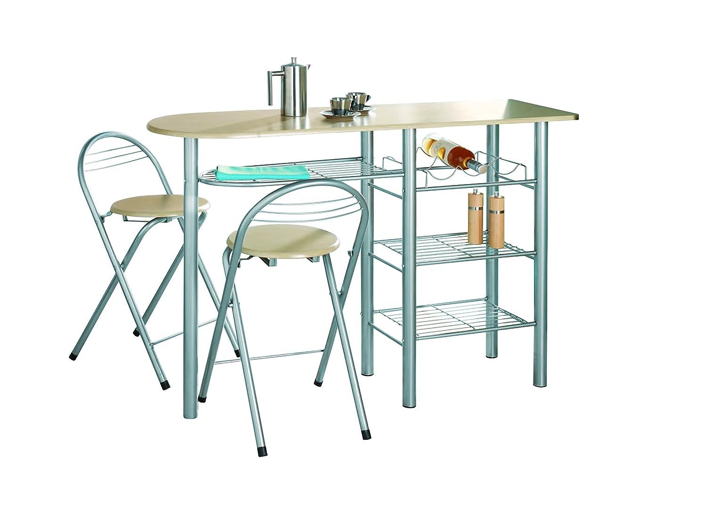 0077-Modern Breakfast Bar Table Set Stools Storage Shelves Wine Rack ...