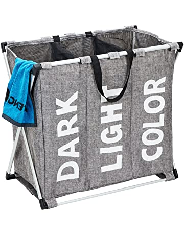 HOMEST Large Foldable Laundry Hamper Basket Durable 3 Sections Dirty  Clothes Bag with Handle for Bathroom 5cc273dc4dcd8