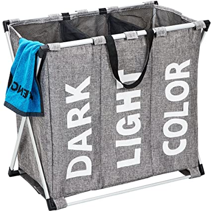 9ae981474925 Amazon.com: HOMEST Laundry Basket 3 Sections, Large Dirty Clothes ...