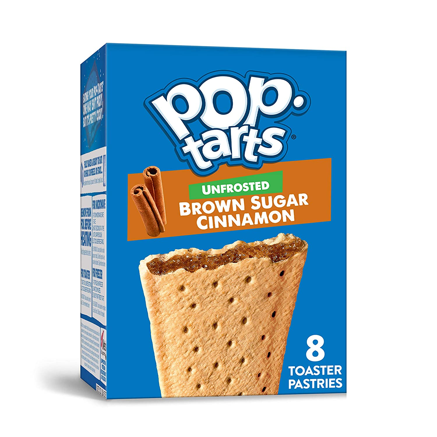 Pop-Tarts, Breakfast Toaster Pastries, Unfrosted Brown Sugar Cinnamon, Proudly Baked in the USA, 13.5oz Box (1 Pack 8 Count)