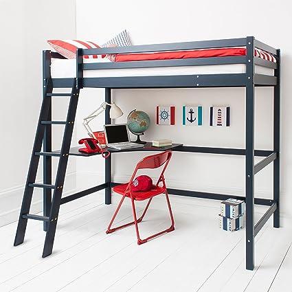 Cabina cama alta cama con Escritorio y colchón en azul marino, litera – de alta