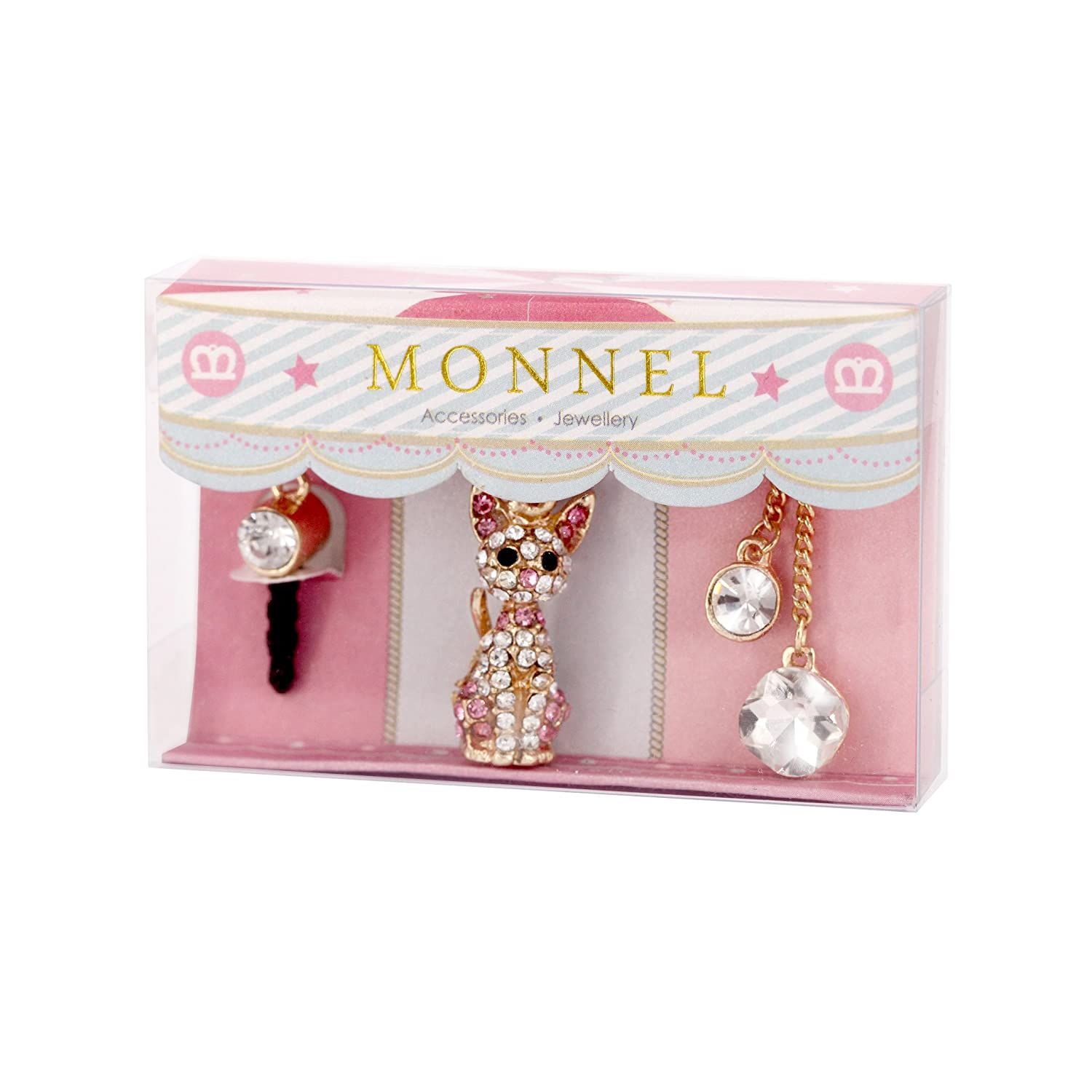Trendy Cell Phone Charm Anti Dust Plug Crystal Cat Accessory for iPhone 5 5s 6 6s, ipods, ipads IP392-M0316 MONNEL Factory