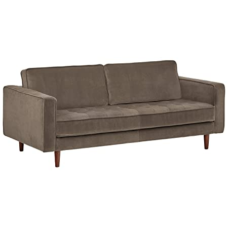 Rivet Aiden Tufted Mid-Century Velvet Bench Seat Sofa, Without Side Pillows, 74 W, Grey