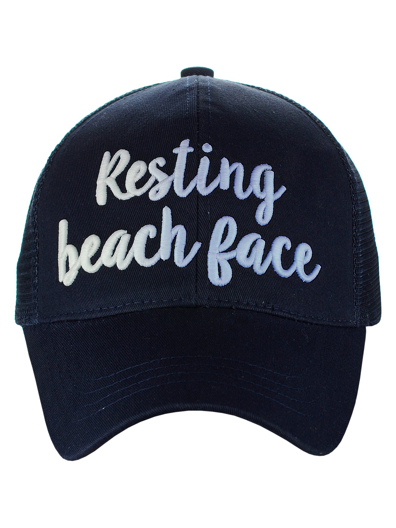 C.C Ponycap Color Changing 3D Embroidered Quote Adjustable Trucker Baseball Cap, Resting Beach Face, Navy