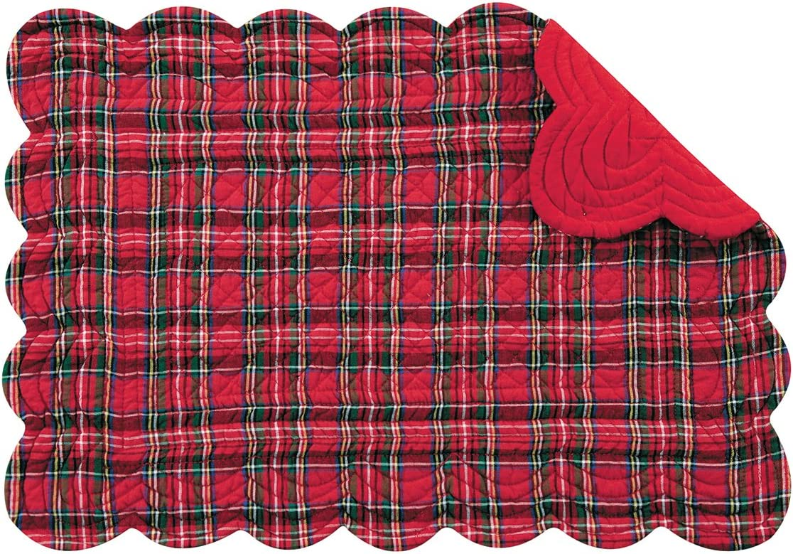 Set of 4 PCS,13X19 Inches Quilted SCALLOP Placemats RED PLAID