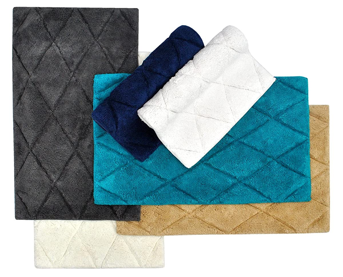 "TreeWool, (2 Piece) Bathroom Rug Set with Latex Sprayed Backing, Non Skid Diamond Accent Bath Mats in 2000 GSM Supreme Soft 100% Cotton High Absorbent, Hand Tufted (21""x34"" & 17""x24""; White)"