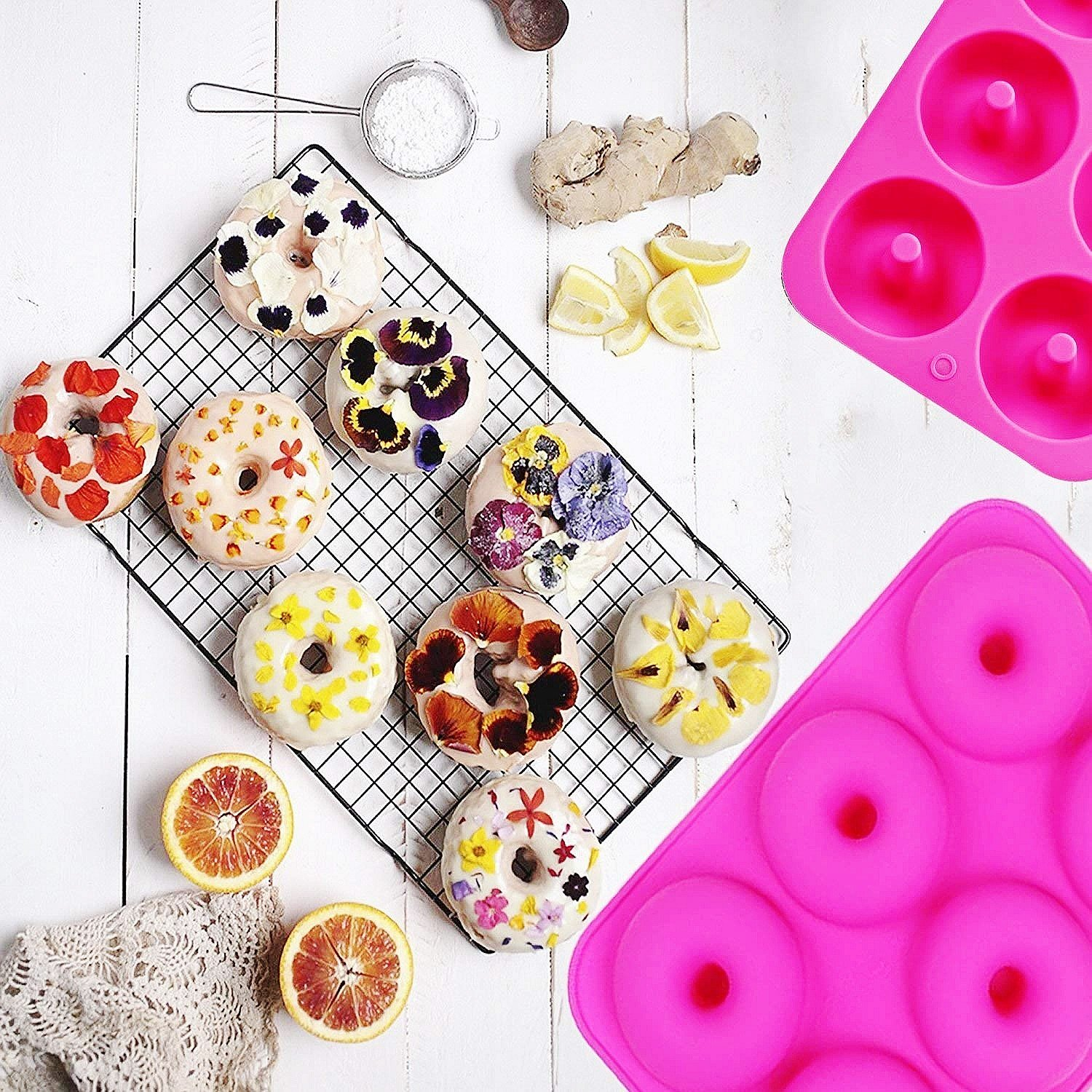 OKSANO 3 Pack Donut Molds, Silicon Cake Mold 6 Cavity Non-Stick Safe Baking Tray Maker Pan Heat Resistance for Cake Biscuit Bagels Muffins-Orange, Rose Red, Green by OKSANO (Image #7)