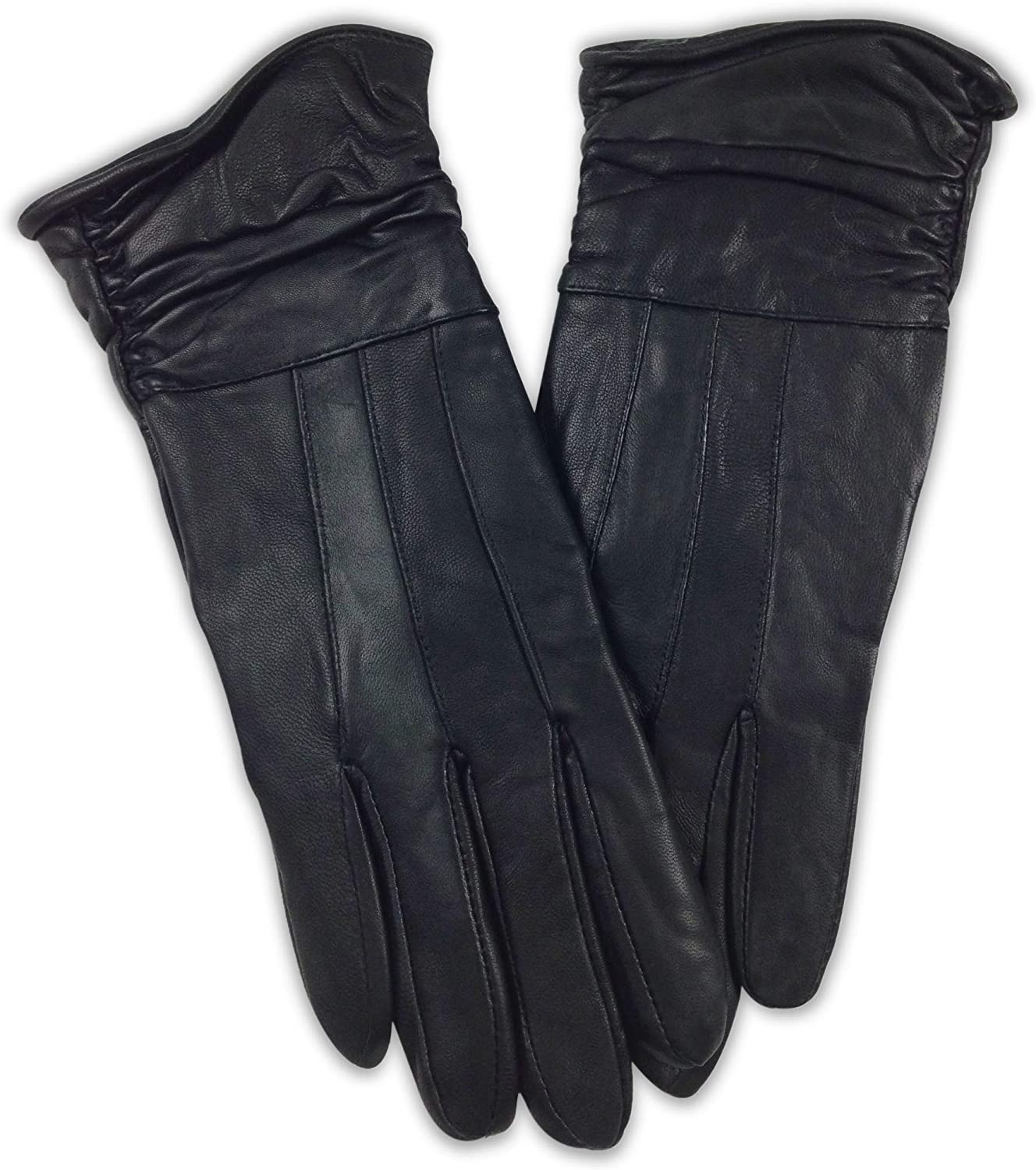 Mens//Womens Leather Insulated Gloves Solid Black Genuine Driving Pair Comfort