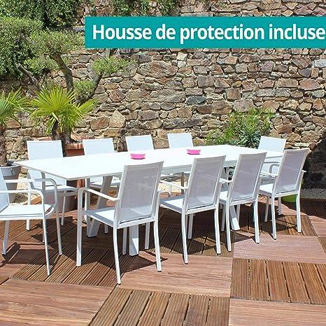 RESIDENCE - Salon De Jardin Ibiza Blanc/Gris: Amazon.fr: Jardin
