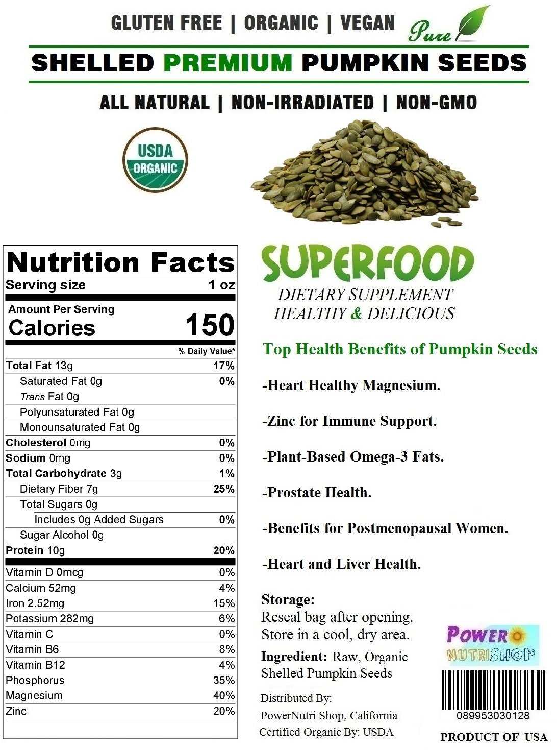 ALL Natural GROWN ORGANICALLY PREMIUM Raw Shelled Pumpkin Seeds,Pepitas, 8 Pounds(128 oz) Bag by PowerNutri Shop