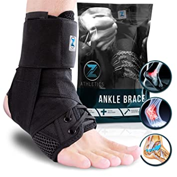 Black Form Fit Ankle Support Brace Lace 2 Adjustable Straps Protector Sprain S Health & Beauty