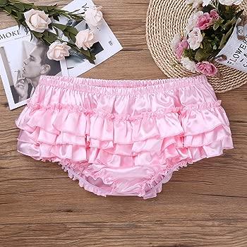 Men/'s Briefs Shiny Satin Ruffled Bloomer Tiered Skirted Panties Sissy Underwear