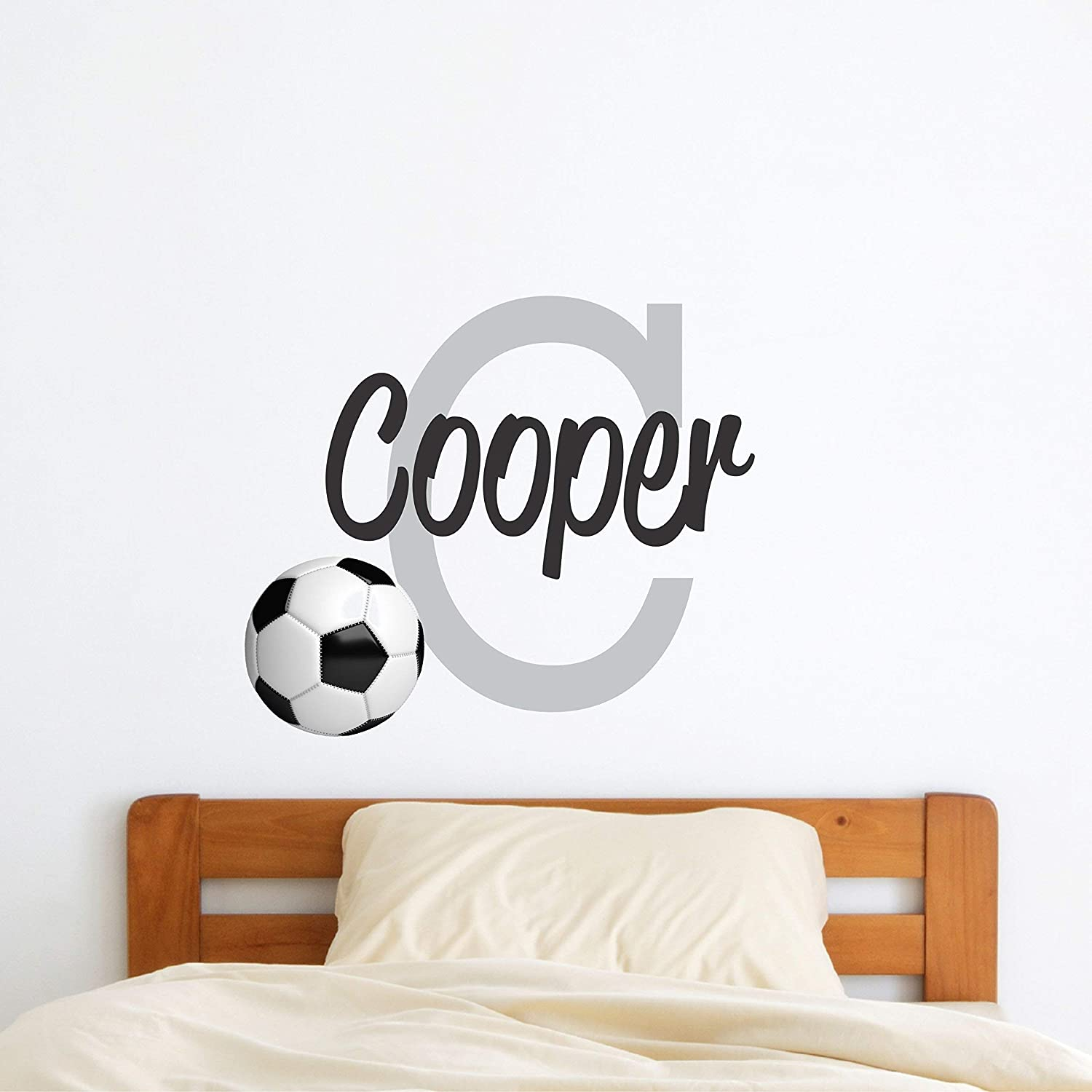 Boys Personalized Football Initial Wall Sticker Custom Name Sign Custom Name Initial Football Wall Decal Personalized Custom Name Stencil Monogram Boys Sports Initial Football Room Wall Decor