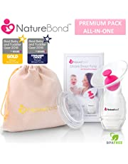 NatureBond Silicone Breastfeeding Manual Breast Pump Milk Saver Suction | All-In-1 Pump Stopper, Cover Lid, Carry Pouch, Air-Tight Vacuum Sealed in Hardcover Gift Box. BPA Free
