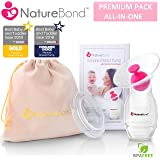 NatureBond Silicone Breastfeeding Manual Breast Pump Milk Saver Suction | All-In-1 Pump Stopper, Cover Lid, Carry Pouch, Air-Tight Vacuum Sealed in Hardcover Gift Box. BPA Free & 100% Food Grade Silicone