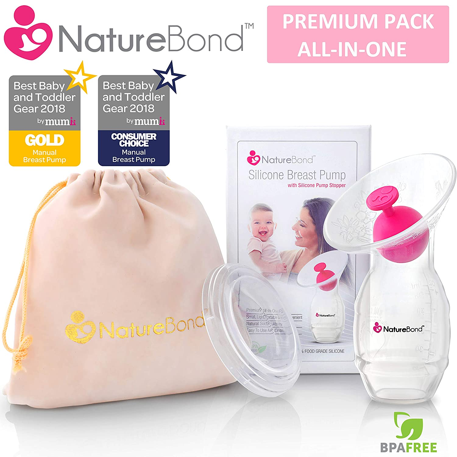 77421e1651959 Amazon.com   NatureBond Silicone Breastfeeding Manual Breast Pump Milk  Saver Suction