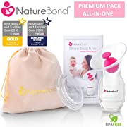 NatureBond Silicone Breastfeeding Manual Breast Pump Milk Saver Suction [2018 Model] | Bonus Pump Stopper, Cover Lid, Pouch, Air-Tight Vacuum Sealed in Hardcover Gift Box. BPA Free