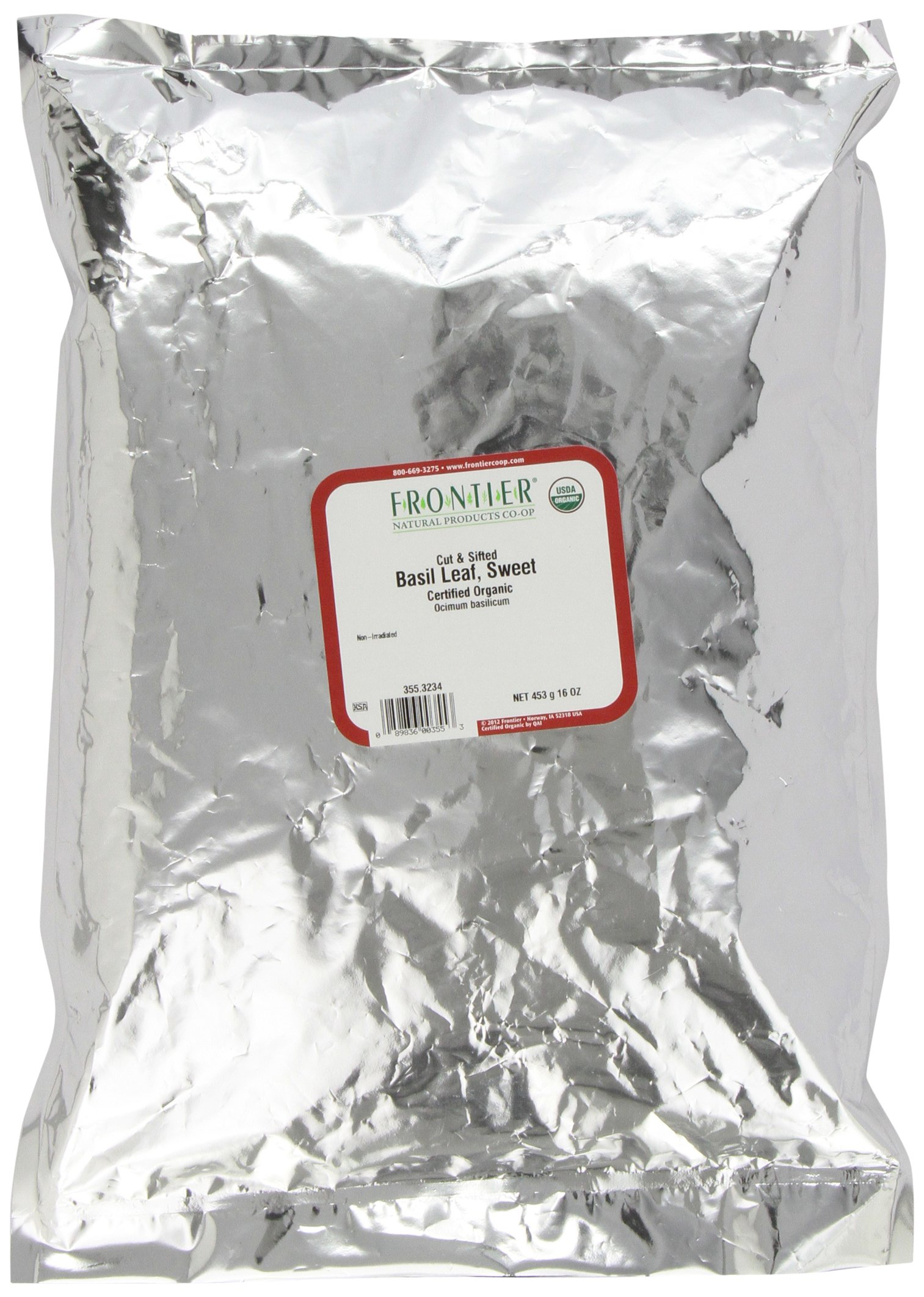 Frontier Basil Leaf, Sweet-domestic, C/s Certified Organic, 16 Ounce Bag