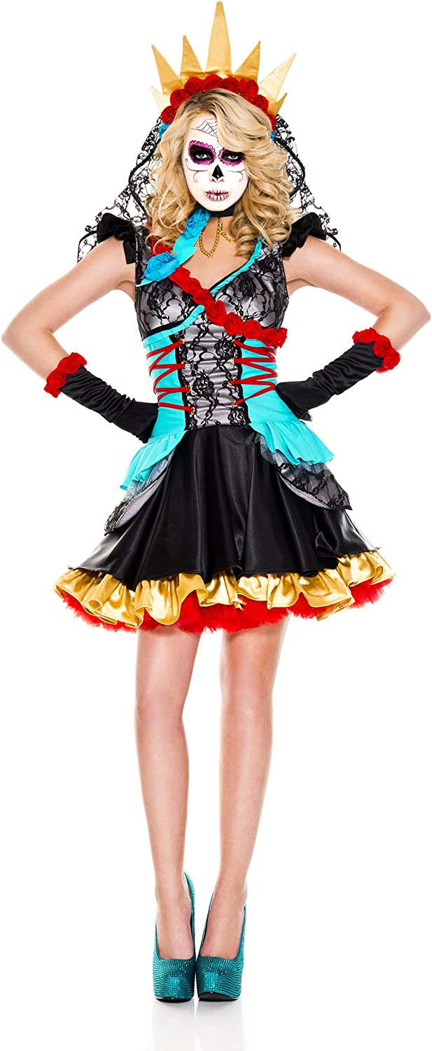 New Music Legs 70755Q Plus Size Day Of The Dead Darling Costume