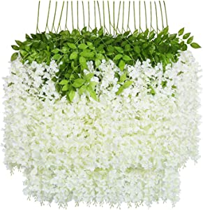 iWISTERIA 36 Pack 3.6FT Artificial Hanging Flowers Wedding Decoration Arch Greenery Vines Ceremony Backdrop Fake Wisteria Silk Party String Home Rattan Plants Bush Plastic Garland (White)