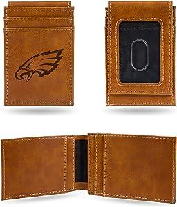 Rico Industries NFL Laser Engraved Front Pocket Wallet, Brown