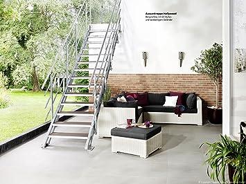 InterCon Hollywood - Escalera exterior (100 cm de ancho, con peldaños de WPC, compuesto de madera y plástico o rejilla, para altura de piso 72 - 330 cm, con 4-14 niveles): Amazon.es: