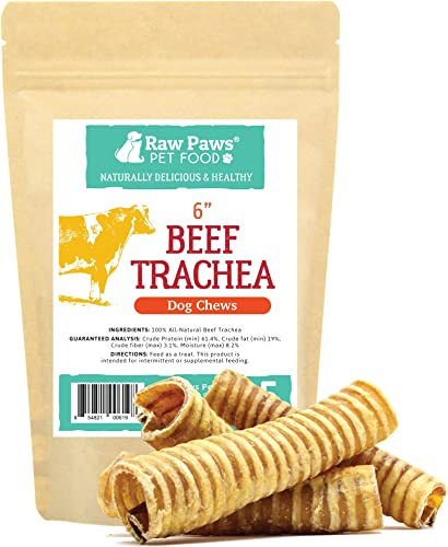 Raw Paws Premium Beef Trachea for Dogs – Packed in USA – Dehydrated Beef Trachea Chews from Free-Range, Grass-Fed Cows – Trachea Dog Treats are a Healthy Rawhide Alternative for Dogs