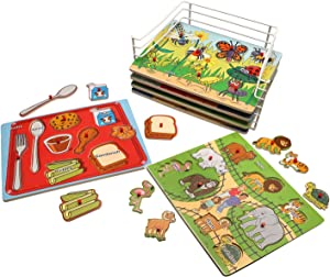 PUZZLE UNIVERSE Wooden Peg Puzzle Set - Set of 6 Series 3 Wood Puzzles Zoo, Farm, Bugs, Shapes, Crayons, Food -Educational Toys for Kids 18 Months and Up