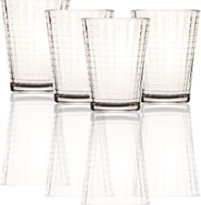 Circleware Clear Heavy Base Juice Drinking Glasses, Set of 4, 7 Ounce, 7 oz, Windowpane 4pc