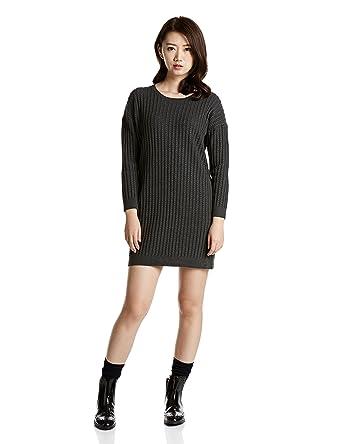 comment choisir moins cher large éventail Robe maille coton - Taille: M - Couleur: Gris chiné foncé ...