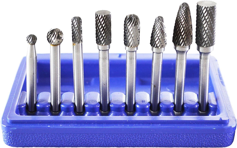 Non-Ferrous Carbide Rotary Burr Set 1//4 Inch Shank For Aluminum Die grinding