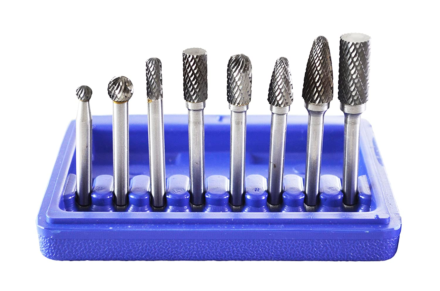 Astro 2181 Double Cut Carbide Rotary Burr Set with 1/4-Inch Shank