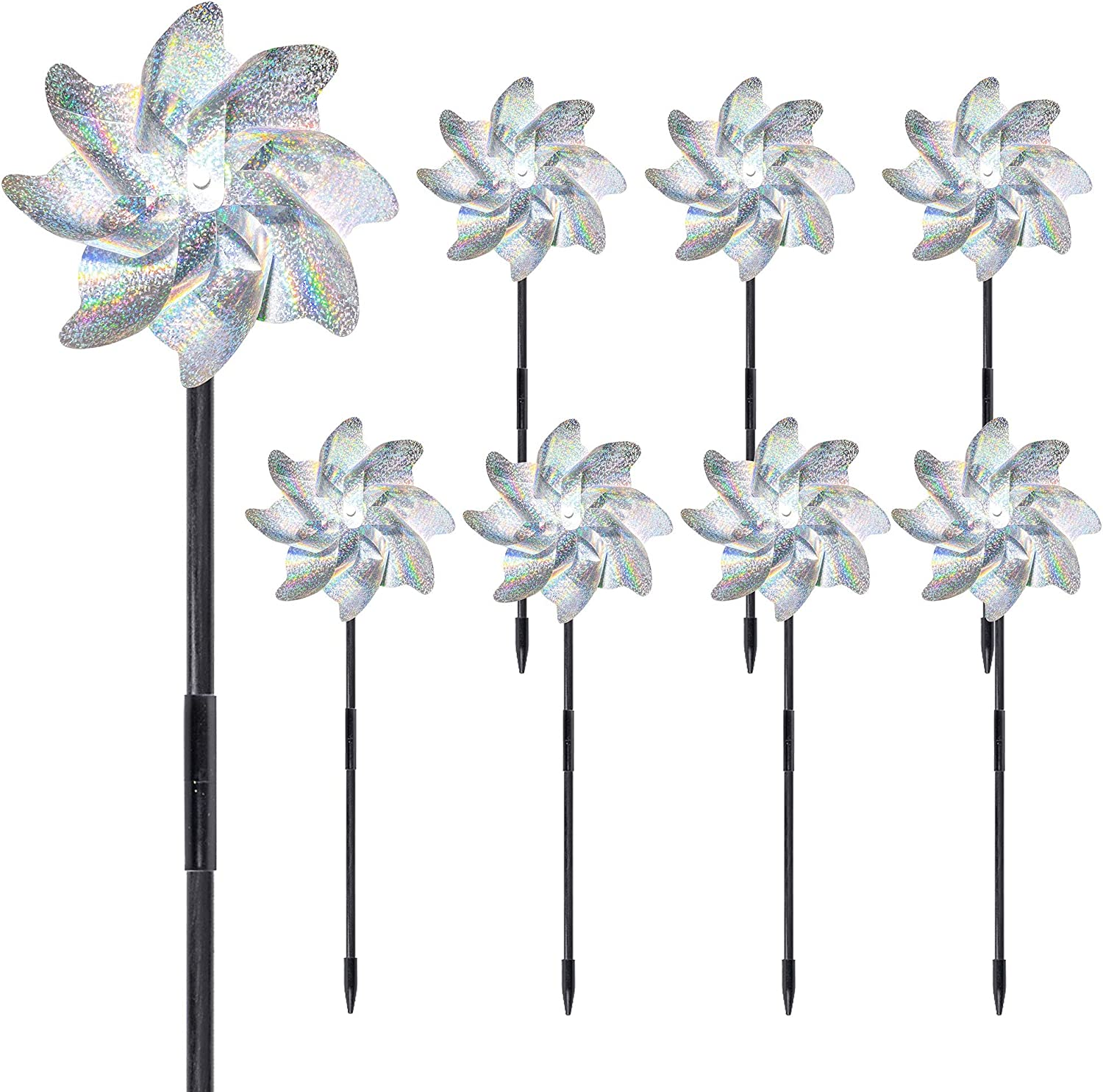 FUNPENY Bird Blinder Repellent Pinwheels, Effectively Reflective Pinwheels, Set of 8 Sparkly Holographic Pin Wheel Spinners Scare Off Birds and Pests for Garden Patio Yard Farm