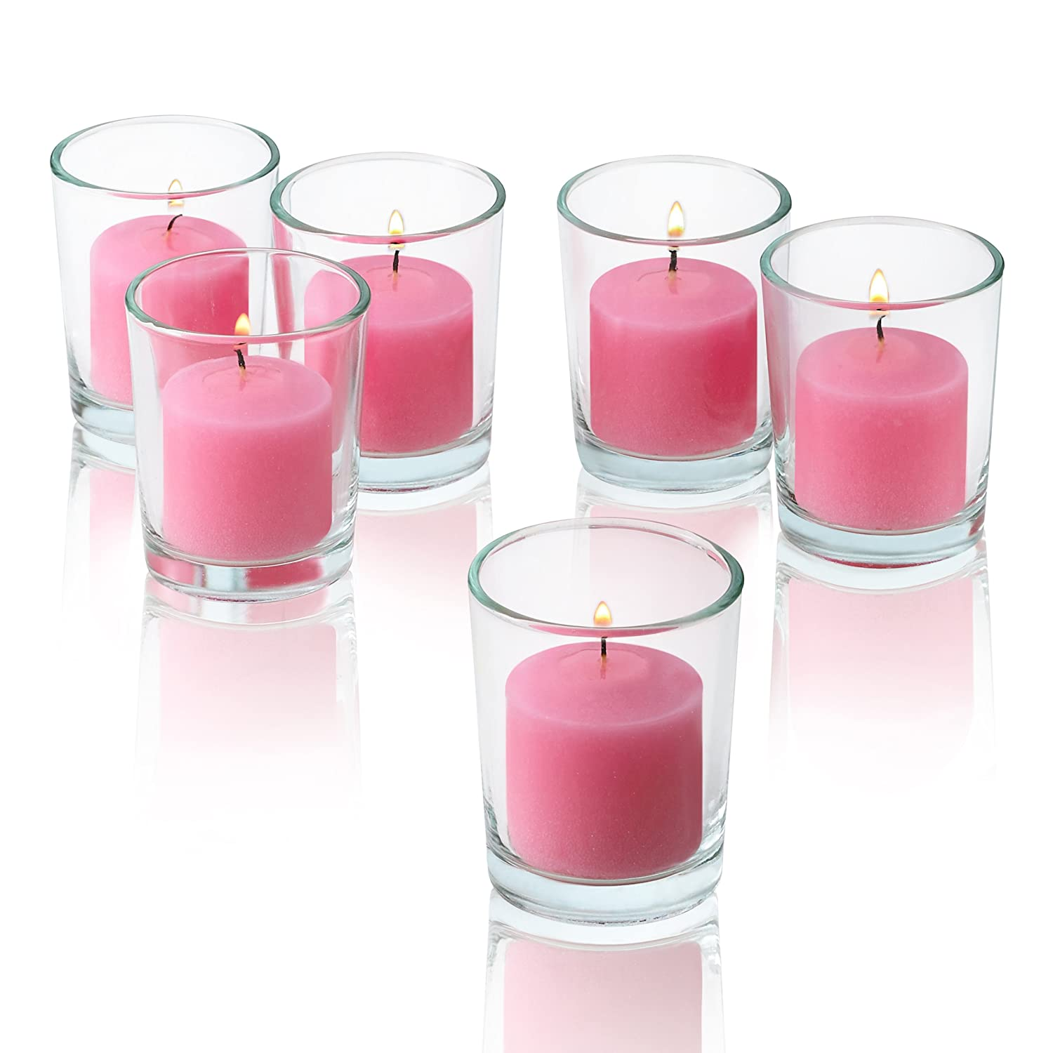 Amazon.com: Pink Rose Garden Scented Candles - Bulk Set of 72 ...