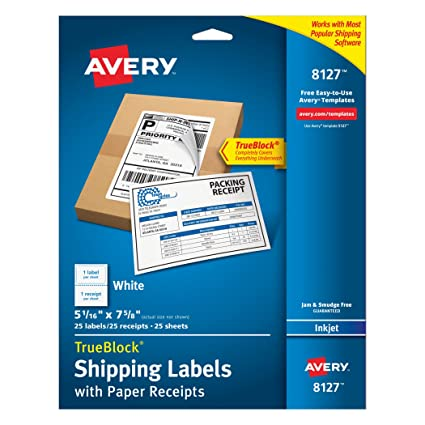 amazon com avery shipping labels w paper receipts and trueblock