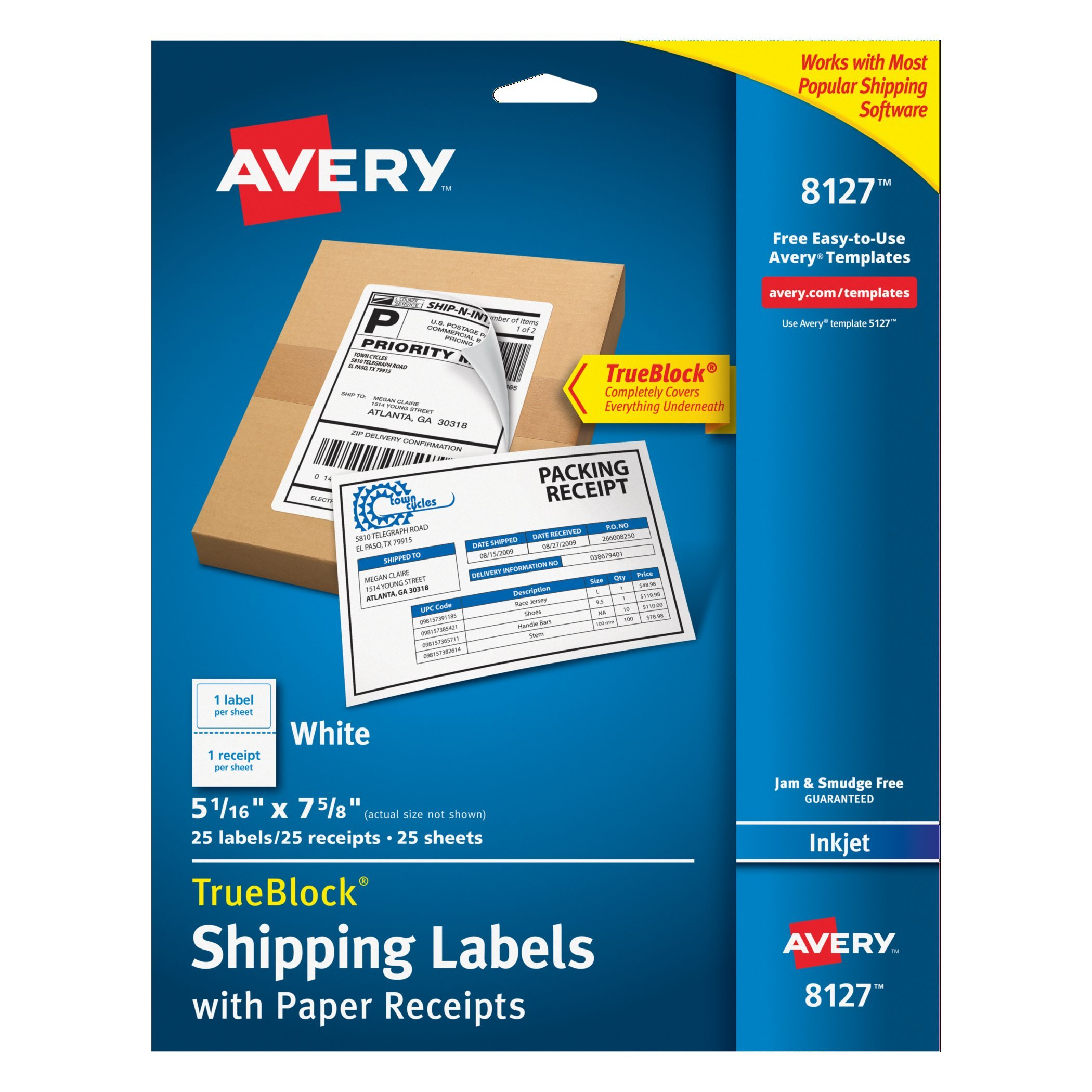 Avery Shipping Labels w/Paper Receipts and TrueBlock Technology for Inkjet Printers 5-1/16'' x 7-5/8'', Pack of 25 (8127)