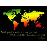 GAIN WORLD LOSE YOUR SOUL BOB MARLEY WORLD MAP QUOTE TYPOGRAPHY ART POSTER QU053