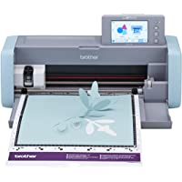"""Brother ScanNCut DX, SDX125, 5"""" LCD Touch Screen, Wireless Network Ready, 600 DPI Scanner, 682 Built-in Designs Home Electronic Cutting Machine, 5 inches, Grey/Aqua"""