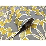 Carta da parati geometrica moderno Glitter Embossed Bold Funky grigio giallo bianco