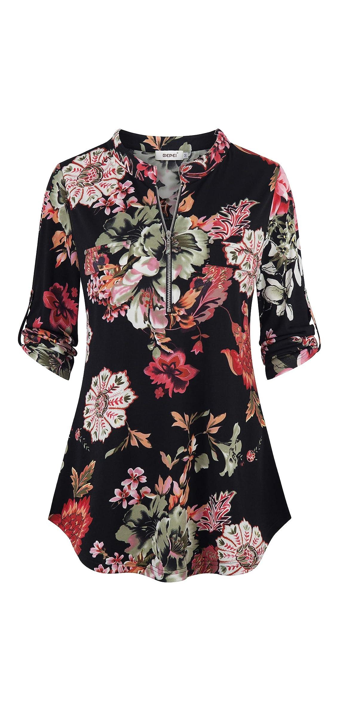 Womens Floral / Sleeve Shirts Zip Up V Neck Work Chiffon