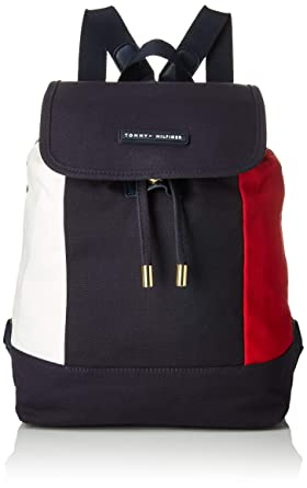 4d7c82b03bdaa Amazon.com  Tommy Hilfiger Flap Backpack for Women TH Flag Canvas ...