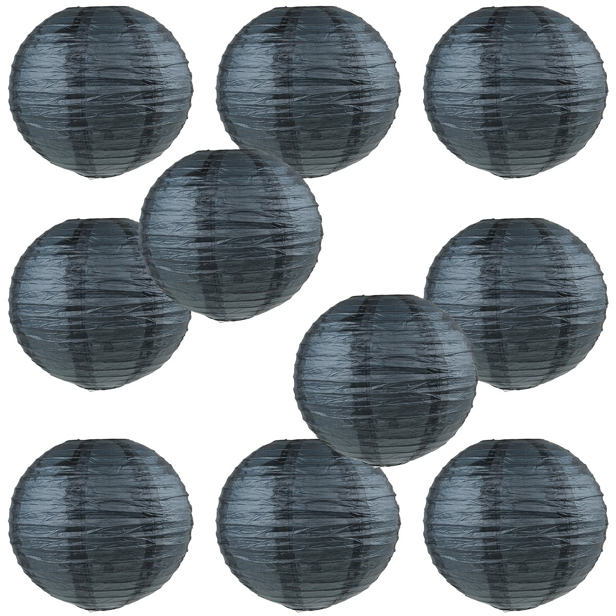 WYZworks Round Paper Lanterns 10 Pack (Black, 8'') - with 8'', 10'', 12'', 14'', 16'' option
