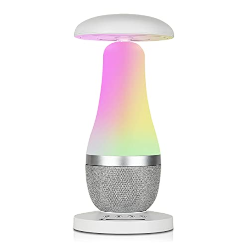 Lonon Table Lamp,Bedside Lamp For Bedroom,Dimmable Touch Sensor Control White Light RGB Color Changing,Bedrooms Lamps With Bluetooth Speaker,Portable Rechargeable Mushroom Night Led Light Friendship