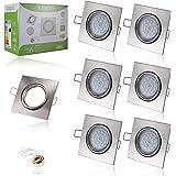 Liqoo® 6 x Spots Encastrables GU10 LED 6W Lumière Blanc du Jour Lampe Projecteur SMD Ampoule LED avec Fixation Recessed Cadre carré de Montage GU10 Douille 550lm Equivalente Incansdance de 40W